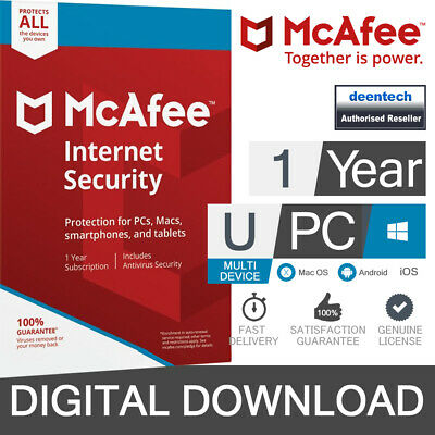 McAfee Internet Security 2020 Unlimited Devices/1Year Antivirus Genuine License