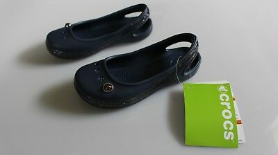 23be2acb5f1e4 New With Tags Crocs Children s Navy Genna Ii Sparkle Band Sing K Size C10 Q5