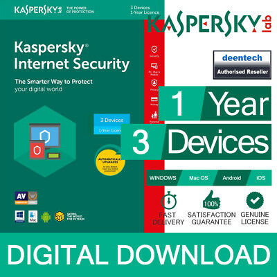 Kaspersky Internet Security 2019 (3PCs) Antivirus Multi-Device Genuine License