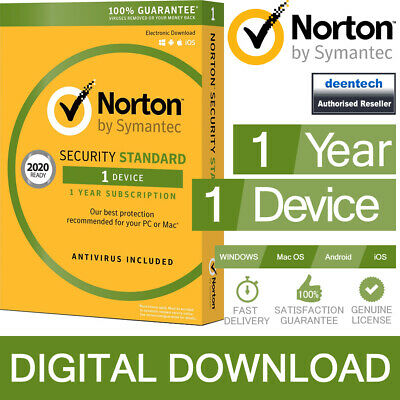 Norton Security Standard 2019 (1Device/1Year) Internet Antivirus PC/Mac Licence