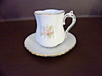 Winrose Collection Demitasse Cup & Saucer Set Peach Floral (Cat.#13T001)
