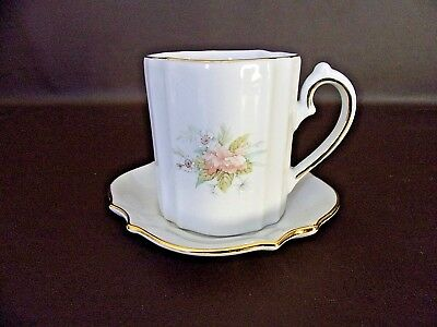 Winrose Collection Oval Demitasse Cup & Saucer Set Peach Floral