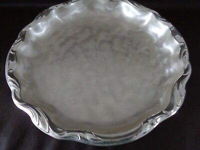 Silverplate Round Scalloped Edge Serving Tray Three Legs (Cat.#6C019)