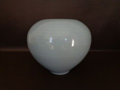 Round Blue Pottery Ball Vase (Unmarked) (Cat.#10B021)