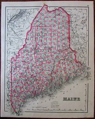 Maine state 1886 scarce Colton & Gray antique map w/ old hand color