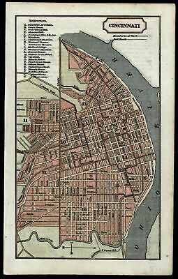 Cincinnati city plan Ohio 1854 detailed antique map uncommon lovely hand color