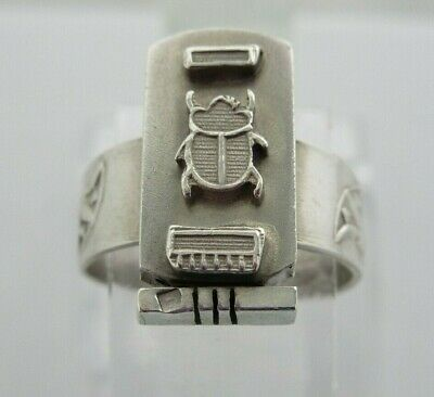 Mens Silver Ring Egyptian Revival Scarab  Heiroglyphs Cartouche Uk R 1/2 Us 9