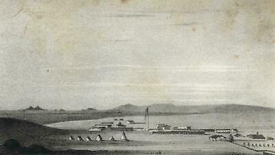San Diego California early lithograph 1848 Earliest printed view of city