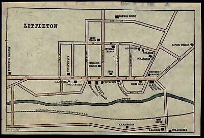 Littleton New Hampshire city plan c.1880's detailed charming scarce color map