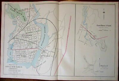 New Haven Oxford East Rock Park Connecticut 1893 antique map large detailed