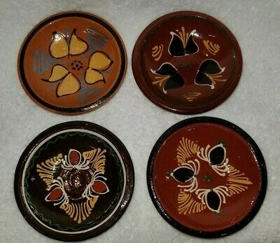 Mexican Terracotta Clay Pottery Small Hand Painted Bowls Wall Decor