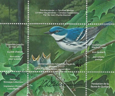 2010 Canada Quebec  Wildlife Habitat Conservation  WWF-DQ64s  signed  Mint NH
