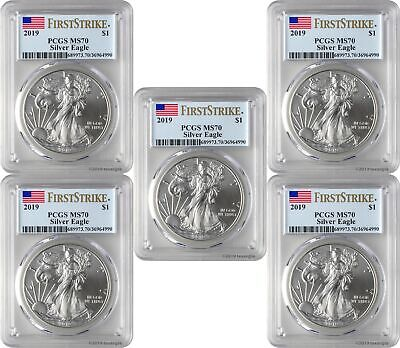 2019 $1 American Silver Eagle PCGS MS70 First Strike - Blue Flag Label Lot of 5