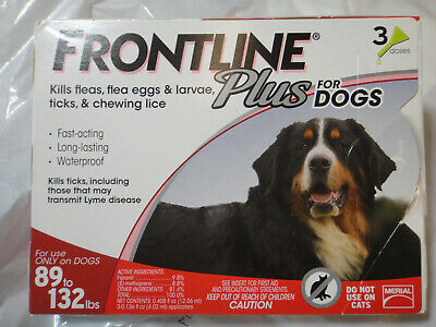 FRONTLINE PLUS DOGS 89-132Lbs FLEA & TICK CONTROL 3 DOSES NEW, SEALED