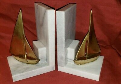 Vintage Pair of Heavy White Marble & Brass Sailboat Bookends High Quality
