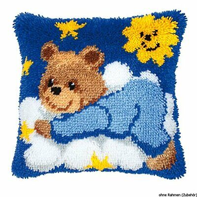 Vervaco Teddy on Cloud Latch Hook Cushion, Multi-Colour