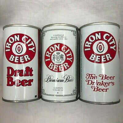 IRON CITY BEER Vintage Old Metal Beer Can 12 oz Lot of 3 Cans Draft Premium