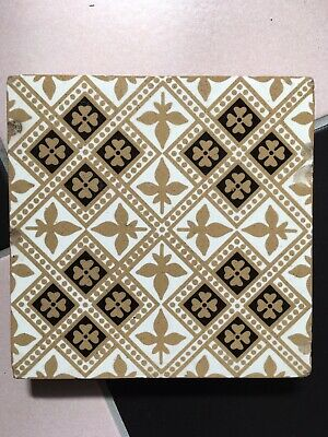 "Antique Tri colour Encaustic Floor Tile 6 x 6"" Stoke on Trent Rare Museum Piece"
