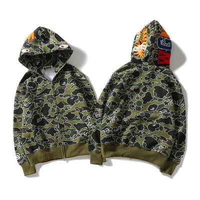 3e7c8890a511 BAPE Men s A Bathing Ape Full Zip Shark Head Camo Hoodie Coat Sweatshirt  Jacket
