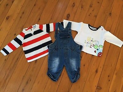 Sprout Baby boy outfit size 0 dungaree jeans shirts FREE POSTAGE