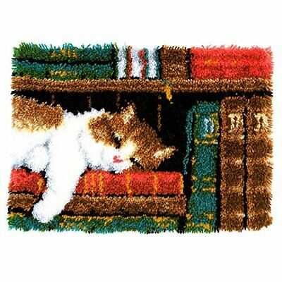 Vervaco Latch Hook Carpet Cat on Bookshelf, Cotton Blend, Assorted, 43.5 x 23.5