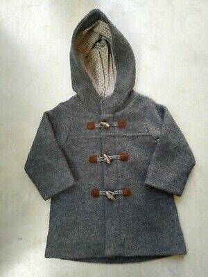 BNWT Pure Baby size 2 Charcoal grey Melange Duffle Coat Jacket boys girls unisex