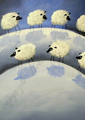 Sheep lead with eyes wide open funny quote ACEO Giclee folk art print Criswell