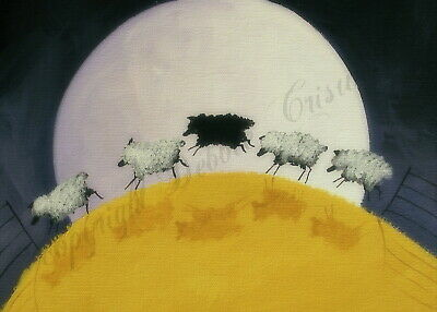 Baa baa black sheep jumping over funny quote ACEO Giclee folk art print Criswell