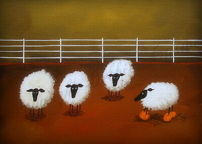 Took The Short Cut sheep pumpkin funny quote ACEO Giclee folk art print Criswell