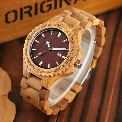 Luxury Wood Watch Men's Quartz Bamboo Wristwatch Full Wooden Watches Bangle Gift