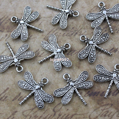 10pcs Dragonfly Charms Pendants Antiqued Silver Tone Double Sided 15x21 mm DIY
