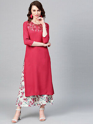 Women Rayon Pink Embroidery Kurta Kurti With Palazzo Set 3/4 Sleeve Tunic Hoodie
