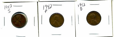 1942 P,d,s Wheat Pennies Lincoln Cents Circulated 2X2 Flips 3 Coin Pds Set#3497