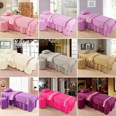 4pcs Spa Massage Bed Cover Set Sheet Beauty Table Skirt Pillowcase Stool Cover