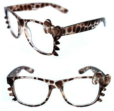 66bf9752d75 Women s Hello Kitty Eye Glasses Horn Rimmed Clear Lens Brown Clear Frame  and Bow