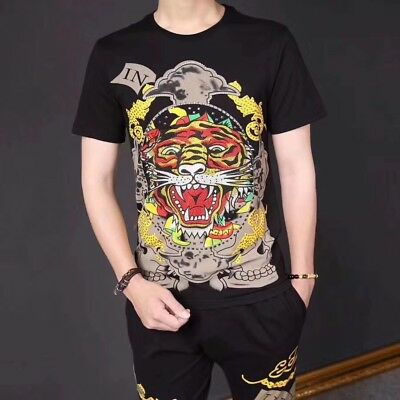 83722242 ED HARDY TIGER Head Personalized Tee Black Men T-shirt #7010 Size M ...