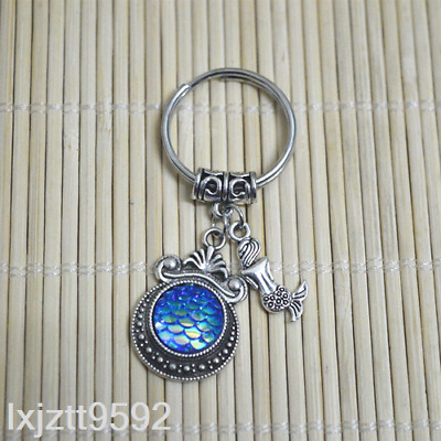 BLUE AB Mermaid keychain, bagcharm zipper bag charm Fish scales party favors