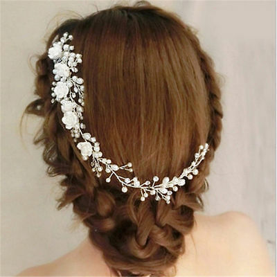 Wedding Bridal Hair Accessories Roses Comb Head Piece Pearl Clip Pin Bride Right