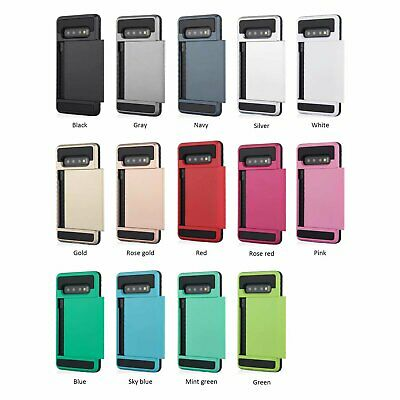 Galaxy S10 S10e S10+ Plus S9 S8 Case Slide Armor Wallet Card Slots for Samsung