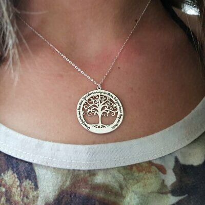 Personalized Tree Of Life Necklace With Names Or Inscription Gift For Christmas