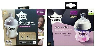 Tommee Tippee Closer To Nature 150ml / 260ml Slow Flow Baby Feeding Bottles 0m+