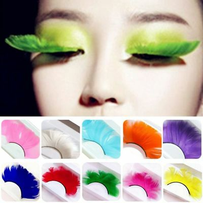 af93e175a28 3D Colorful Feather Natural Thick False Fake Eyelashes Lashes Makeup  Extension