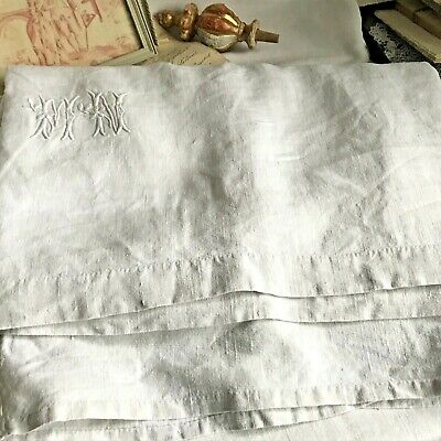 Antique Linen Sheet White Monogram MN White French Bedding 19C Fabric - Projects