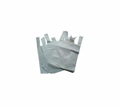 1000 x Polythene Carrier Bags WHITE 11x17x21 INCHES