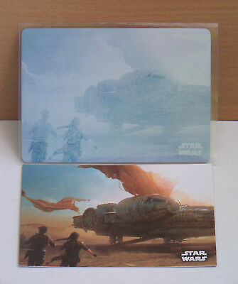 Star Wars The Force Awakens Series 1 cyan printing plate Concept Art #6 Falcon