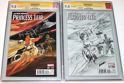 Two Carrie Fisher Signed Princess Leia #1 Ross Variants CGC 9.8 SS x3, Star Wars