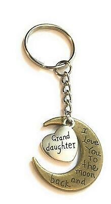 Granddaughter I love you to the moon and back bronze and silver keyring key ring