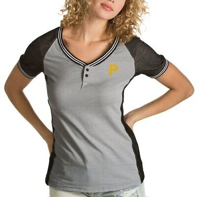 Antigua Pittsburgh Pirates Women S Gray Black Quick Henley T Shirt