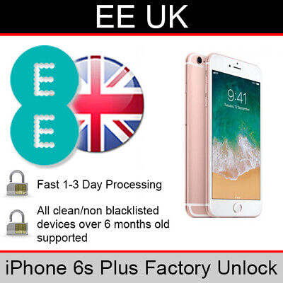 EE UK iPhone 6s Plus Factory Unlocking Service (FAST 1-3 WORKING DAY SERVICE)