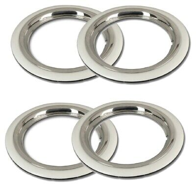 "4X 12"" White wall tyre trims + stainless steel rim rings for Classic Car"